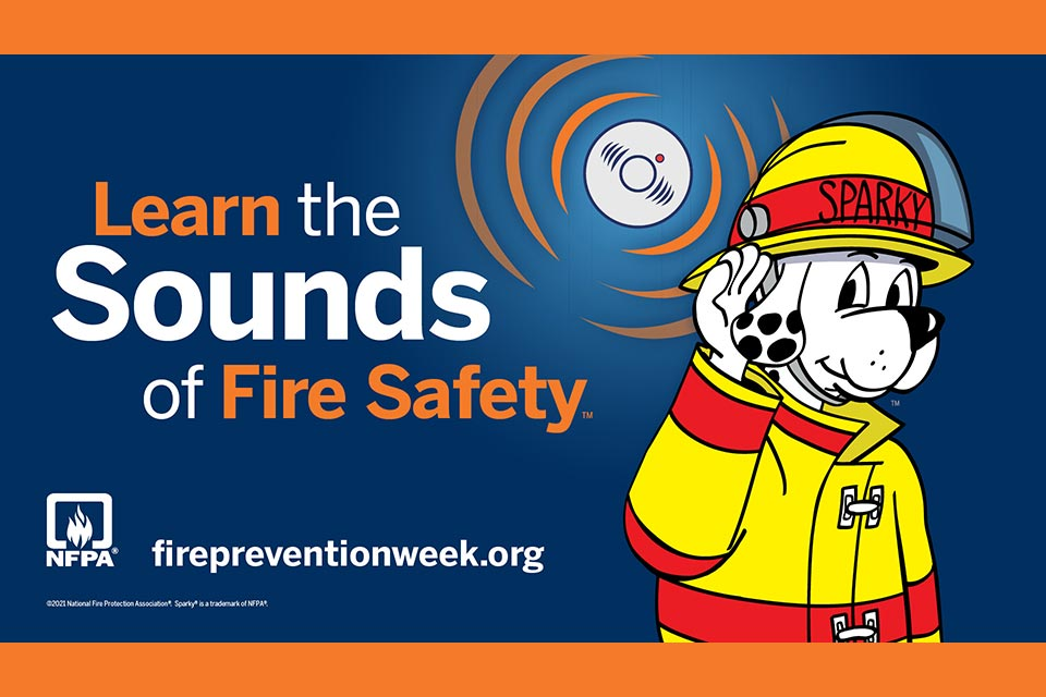 Learn the Sounds of Fire Safety Fire Prevention Week logo