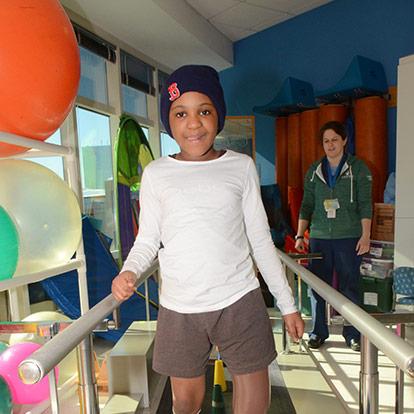 patient in rehabilitation gym