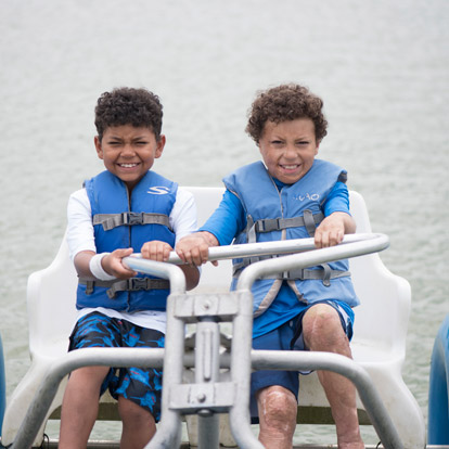 two patients on paddle boat