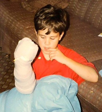 Matthew with bandages as a child