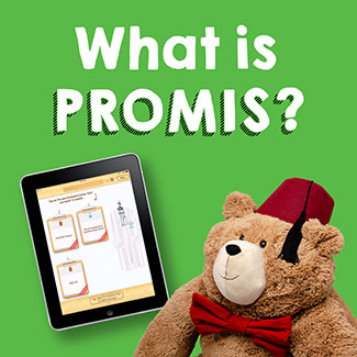What is PROMIS, featuring Fezzy and a tablet